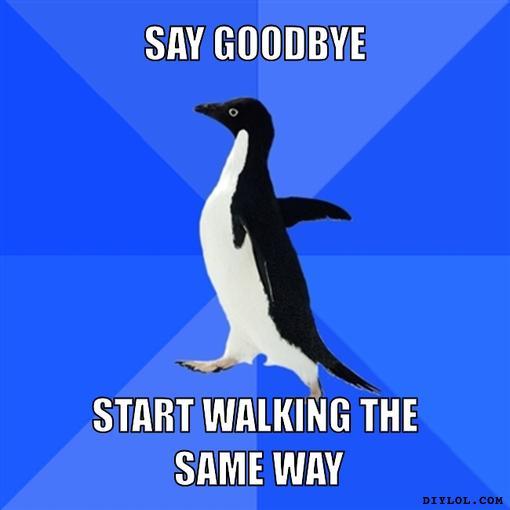 socially-awkward-penguin-meme-generator-say-goodbye-start-walking-the-same-way-2c8e50